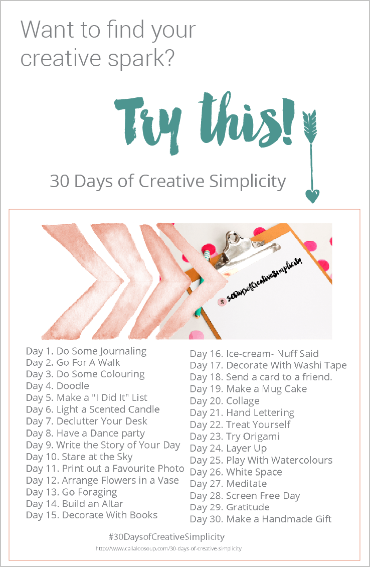 30 Days of Creative Simplicity at Callaloo Soup - find your creative spark