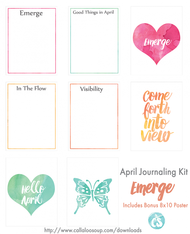 April 2016 Printable Journaling Kit - Emerge